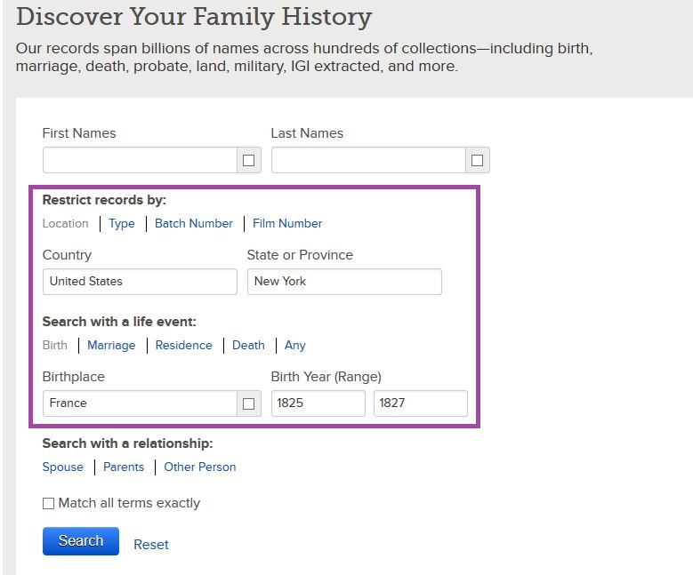 FamilySearch.org Search Page